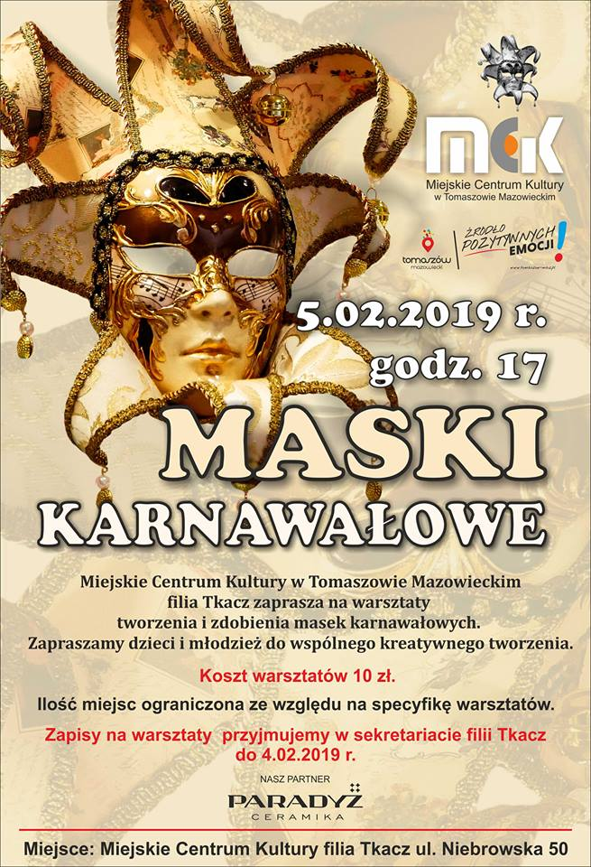 Maski karnawałowe - warsztaty tworzenia i zdobienia masek